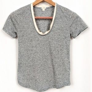 J. Crew Ribbon Trim Neck T-Shirt